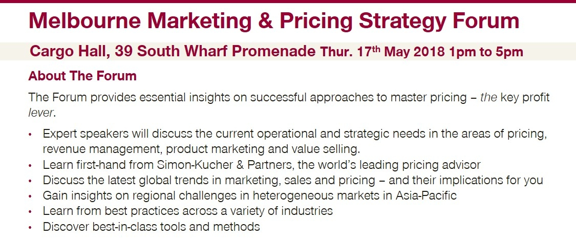 Melbourne Marketing & Pricing Strategy Forum