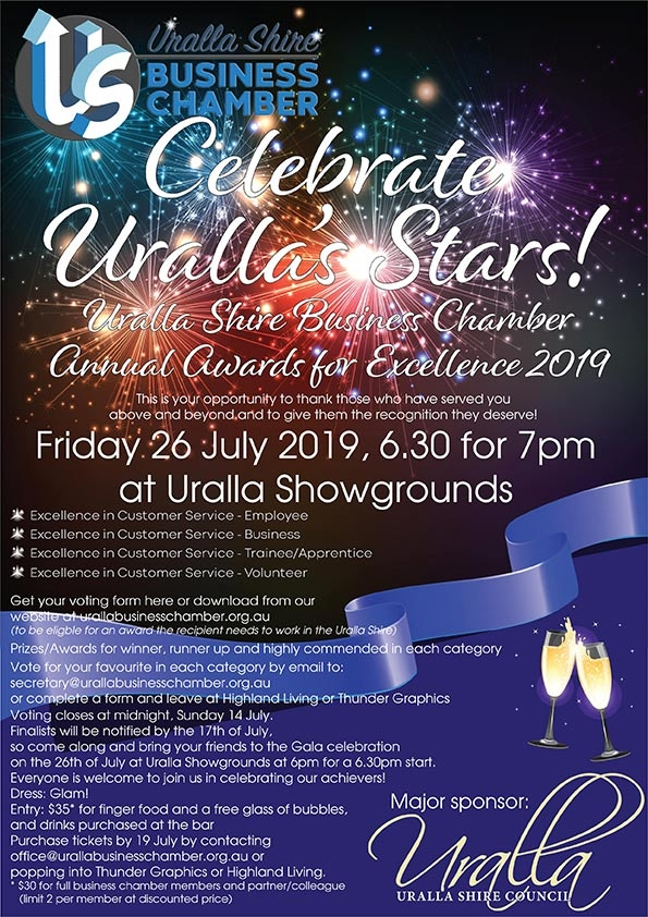 "Uralla Shire Business Chamber Awards for Excellence ""Celebrate the Stars of Uralla"""